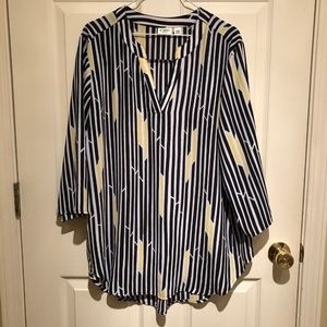 Cato's Plus Size Blouse 18/20W black yellow white